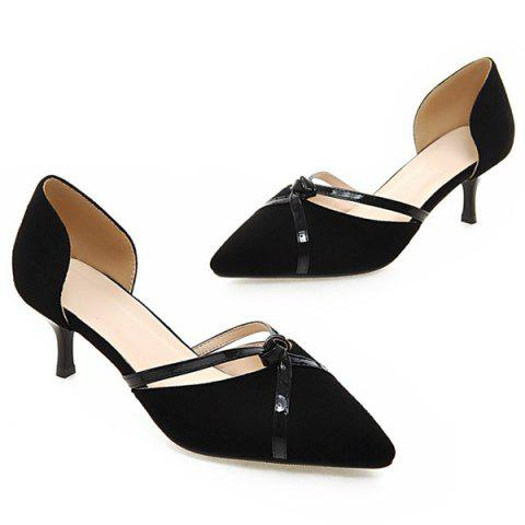 Fancy Graceful Two-Piece and Suede Design Pumps For Women - BLACK 38 Mobile