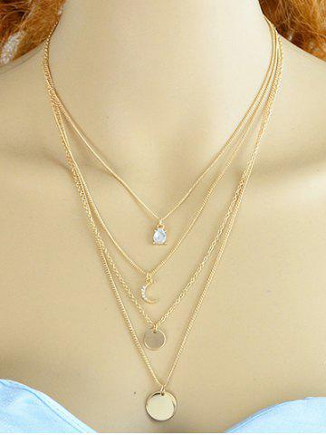 Best Rhinestone Moon Layered Necklace GOLDEN