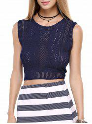 Sleeveless Openwork Pure Color Top