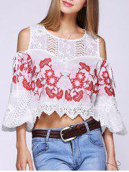 Stylish Cold Shoulder Floral Embroidered Crochet Splicing Women's Blouse