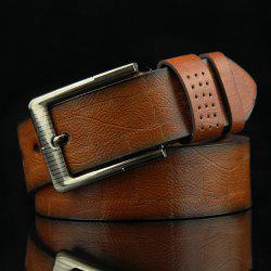 Stylish Pin Buckle Checked Pattern PU Wide Belt For Men - CAMEL