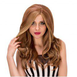 Fluffy Wave Side Parting Synthetic Stylish Long Brown Mixed Capless Wig For Women