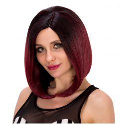 Bob Style Straight Black Ombre Wine Red Short Synthetic Wig For Women