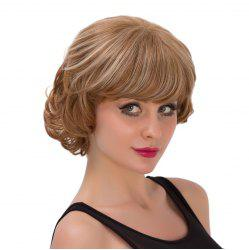 Fluffy Wave Brown Mixed Capless Graceful Short Side Bang Synthetic Wig For Women