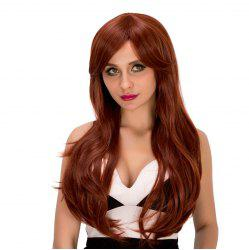 Ladylike Long Wavy Middle Part Auburn Brown Women's Synthetic Hair Wig