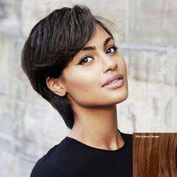 Spiffy Short Side Bang Capless Straight Human Hair Wig For Women -