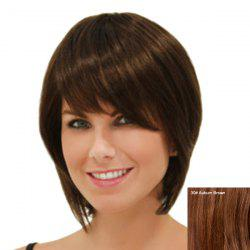 Elegant Straight Side Bang Capless Short Human Hair Wig For Women -