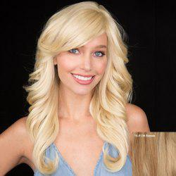 Charming Long Real Human Hair Fluffy Wavy Side Bang Handwoven Front Wig For Women -