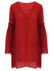 Refreshing Bell Sleeves Plunging Neck Ruffled Women's Dress