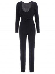 Sexy Self-Tie Design Long Sleeve Plunging Neck Women's Jumpsuit