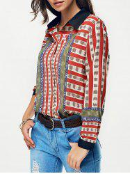 Striped Color Block Chain Print Shirt