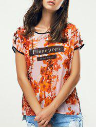 Floral Print High Low Ringer T-Shirt
