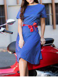 Vintage Polka Dot Printed Short Sleeve Belted Midi Dress For Women