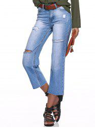 Distressed Ripped Straight Jeans -