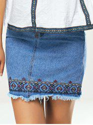 Ethnic Women's Embroidered Denim Skirt -