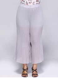 Plus Size Flounce Pleated Chiffon Palazzo Pants