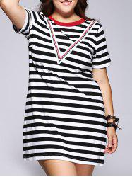 Casual Plus Size Hit Color Striped Women's Dress