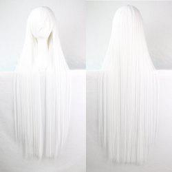Charming Long Glossy Straight Side Bang Harajuku Anime Synthetic Cosplay Wig - WHITE