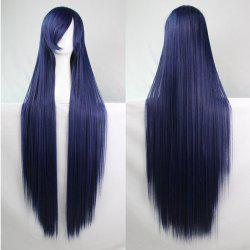 Charming Long Glossy Straight Side Bang Harajuku Anime Synthetic Cosplay Wig - PURPLISH BLUE