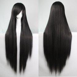 Charme 100cm de long Glossy Straight Side Bang Harajuku Anime perruque cosplay synthétique pour les femmes - Noir