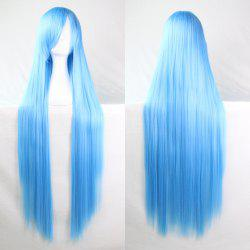Charming Long Glossy Straight Side Bang Harajuku Anime Synthetic Cosplay Wig - WATER BLUE