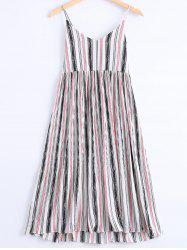 Stylish Spaghetti Strap Striped Dress For Women -