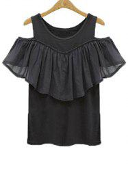 Charming Scoop Neck Flounce Spliced Solid Color Women's T-Shirt