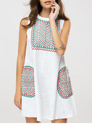 Ethnic Style Embroidered Shift Dress -