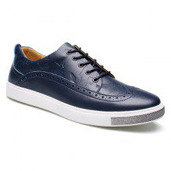 Fashion Engraving and Lace-Up Design Casual Shoes For Men -