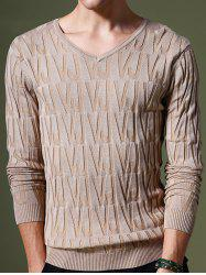 Refreshing V-Neck Letters Pattern Slimming Long Sleeves Sweater For Men - APRICOT