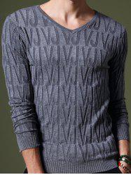 Refreshing V-Neck Letters Pattern Slimming Long Sleeves Sweater For Men - BLUE GRAY