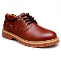Round Toe Lace Up Vintage Casual Shoes - BROWN