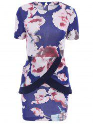 Elegant Jewel Neck Floral Print Cross Splicing Backless Short Sleeve Dress For Women