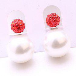 Pair of Rhinestone Faux Pearl Two Side Earrings