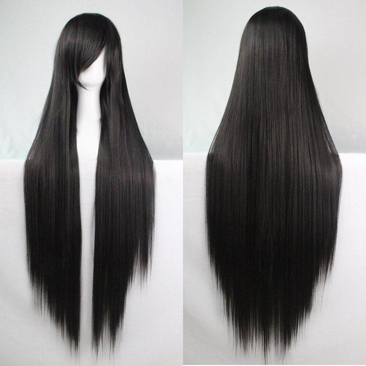 Charming Long Glossy Straight Side Bang Harajuku Anime Synthetic Cosplay WigHAIR<br><br>Color: BLACK; Type: Full Wigs; Style: Straight; Material: Synthetic Hair; Bang Type: Side; Length: Long; Length Size(CM): 98; Weight: 0.3420kg; Package Contents: 1 x Wig;