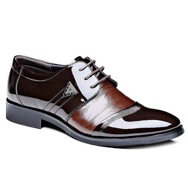 Unique Fashion Patent Leather and Lace-Up Design Formal Shoes For Men