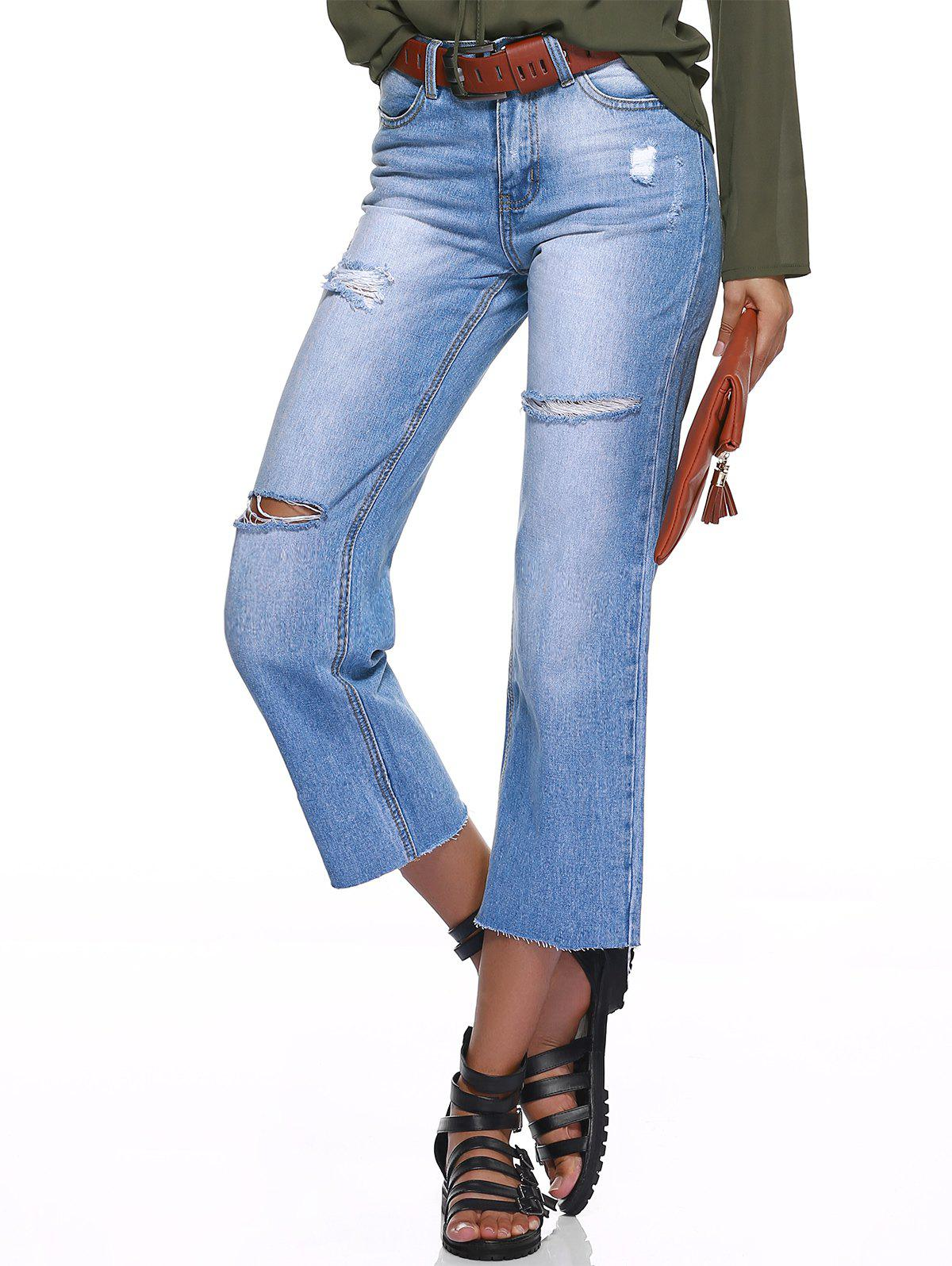 Shops Distressed Ripped Straight Jeans