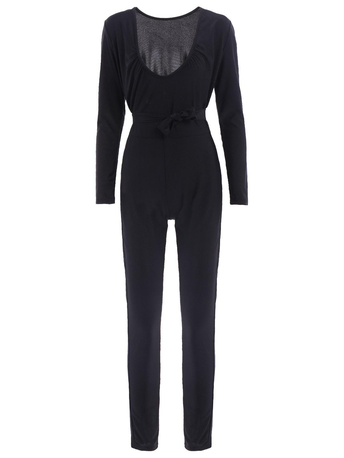Affordable Sexy Self-Tie Design Long Sleeve Plunging Neck Women's Jumpsuit