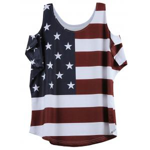 Distressed American Flag Pattern Cold Shoulder T-Shirt - Wine Red - 2xl