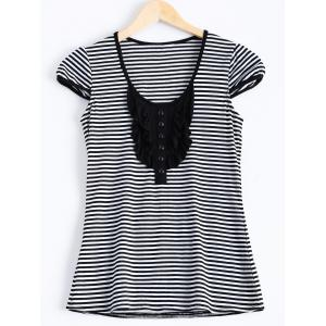 Front Button Stripe Jabot - Shirt