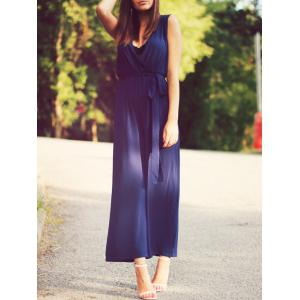 Chic Women's Plunging Neck Tie Belt Wide Leg Jumpsuit