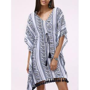 Batwing V-Neck Casual Short Flowy Dress