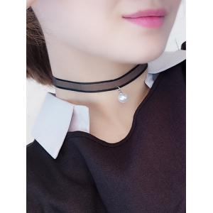 Faux Pearl Translucent Lace Chokers Necklace - Black