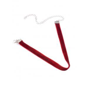Velvet Adjustable Alloy Chokers Necklace - Red - 70