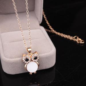 Chic Style Enamel Owl Rhinestone Pendant Necklace For Women