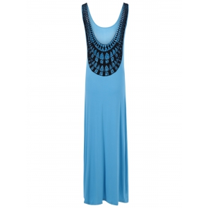 U Neck Openwork Knit Maxi Tank Dress - Tiffany Blue - M