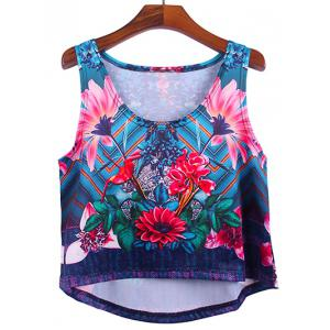 Fashionable Women's Floral Print Asymmetric Tank Top