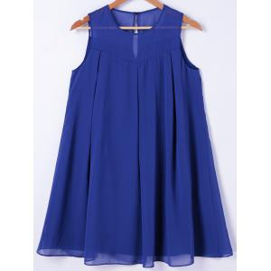 Round Neck Mini Trapeze Dress - Blue - S