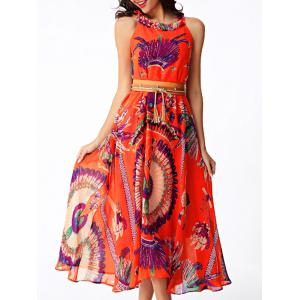 Flowing Printed Chiffon African Maxi Dress - Orange Red - S