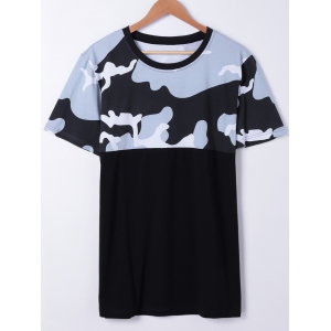 Fashionable Short Sleeves Round Neck Splice Camo Printing T-Shirt For Men